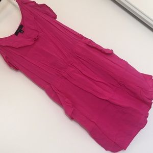 Hot pink mini dress with cinched waist